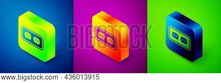 Isometric Electrical Outlet Icon Isolated On Blue, Purple And Green Background. Power Socket. Rosett