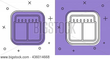 Set Sport Mechanical Scoreboard And Result Display Icon Isolated On White And Purple Background. Vec