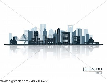 Houston Skyline Silhouette With Reflection. Landscape Houston, Texas. Vector Illustration.
