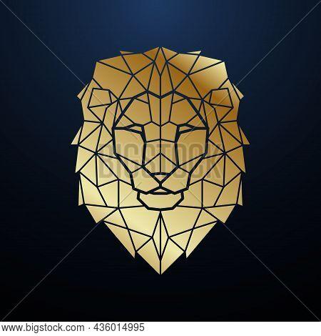 Gold Polygonal Lion Head. Geometric Lion Portrait. Vector Template For Tattoo, Clothes, T-shirt, Pos