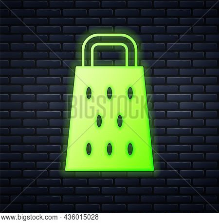 Glowing Neon Grater Icon Isolated On Brick Wall Background. Kitchen Symbol. Cooking Utensil. Cutlery