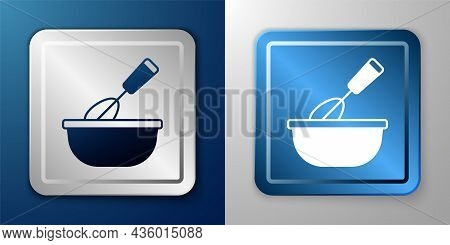 White Cooking Whisk With Bowl Icon Isolated On Blue And Grey Background. Cooking Utensil, Egg Beater