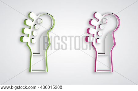 Paper Cut Guitar Neck Icon Isolated On Grey Background. Acoustic Guitar. String Musical Instrument.