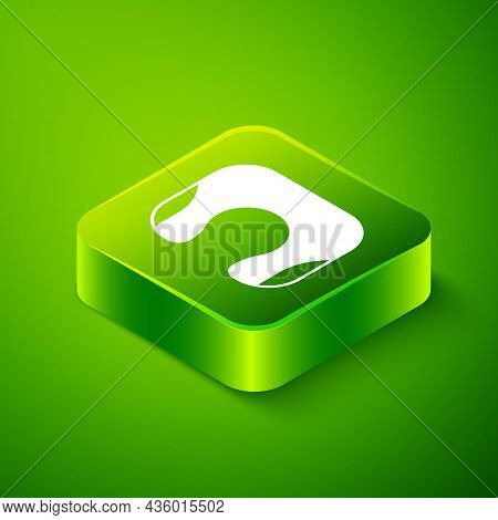 Isometric Travel Neck Pillow Icon Isolated On Green Background. Pillow U-shaped. Green Square Button