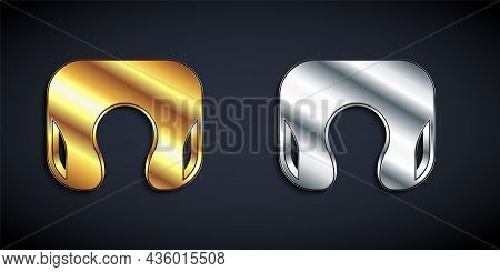 Gold And Silver Travel Neck Pillow Icon Isolated On Black Background. Pillow U-shaped. Long Shadow S