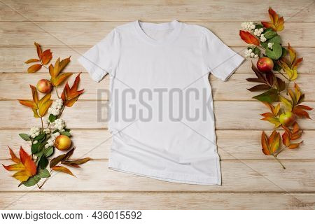 Unisex White T-shirt Mockup With Snowberry And Fall Leaves