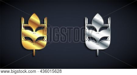 Gold And Silver Cereals Set With Rice, Wheat, Corn, Oats, Rye, Barley Icon Isolated On Black Backgro