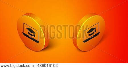 Isometric Graduation Cap On Screen Laptop Icon Isolated On Orange Background. Online Learning Or E-l