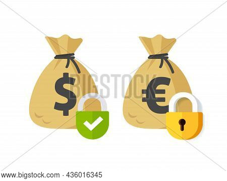 Money Payment Security Lock Protection Icon Or Private Pay Transaction Suspended Or Locked Symbol Fl