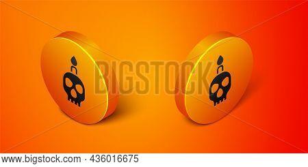 Isometric Burning Candle On A Skull Icon Isolated On Orange Background. Day Of Dead. Orange Circle B