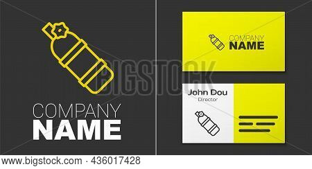 Logotype Line Aqualung Icon Isolated On Grey Background. Oxygen Tank For Diver. Diving Equipment. Ex