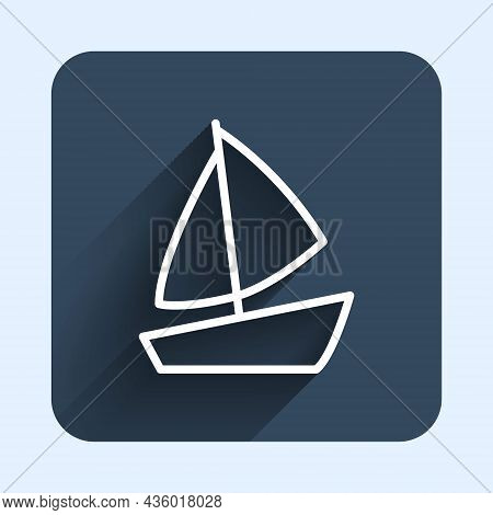 White Line Yacht Sailboat Or Sailing Ship Icon Isolated With Long Shadow Background. Sail Boat Marin