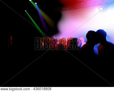 Background With Dancing Crowd On Dance Party And Stage Illuminated By Colored Lights - Colored Illus