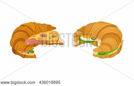 Crunchy Croissants With Various Ingredients Set. French Croissant With Ham, Egg, Cheese Vector Illus