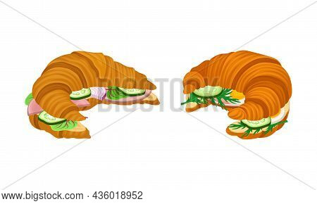 Crunchy Croissants With Various Ingredients Set. French Croissant With Ham, Cucumber, Sausage, Lettu