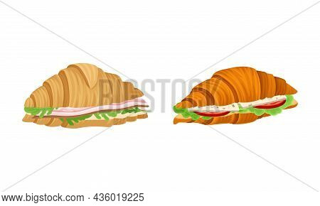 Crunchy Croissants With Various Ingredients Set. French Croissant With Mushroom, Ham, Cheese, Sausag