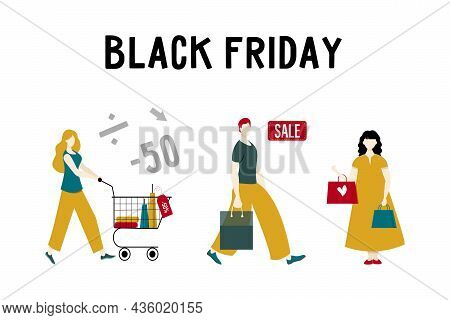 Black Friday Shoppers With Shopping Cart, Bags And Bags. Set Of Vector Female And Male Characters.