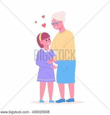 Happy Little Girl Hugging Smiling Grandmother Vector Flat Illustration. Joyful Relatives Enjoying Me