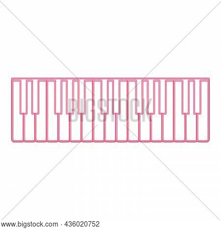Neon Piano Keys Red Color Vector Illustration Flat Style Light Image