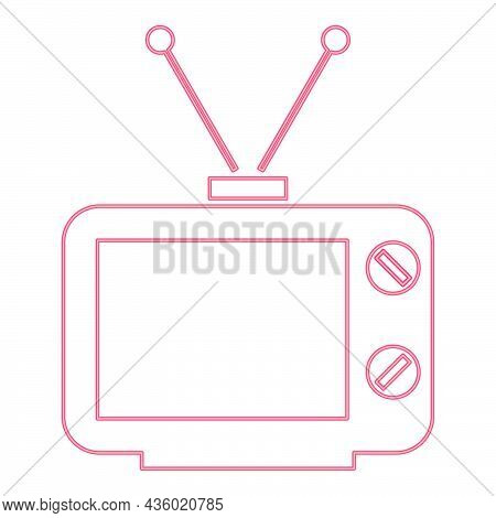 Neon Old Tv Red Color Vector Illustration Flat Style Light Image