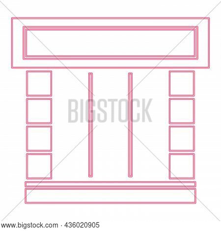 Neon Shopfront Red Color Vector Illustration Flat Style Light Image