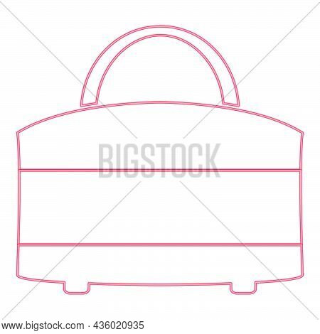Neon Woman Bag Red Color Vector Illustration Flat Style Light Image