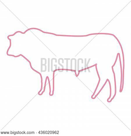 Neon Bull Red Color Vector Illustration Flat Style Light Image