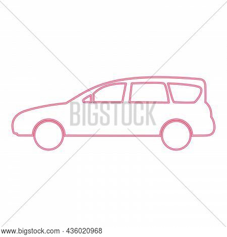 Neon Family Car Red Color Vector Illustration Flat Style Light Image