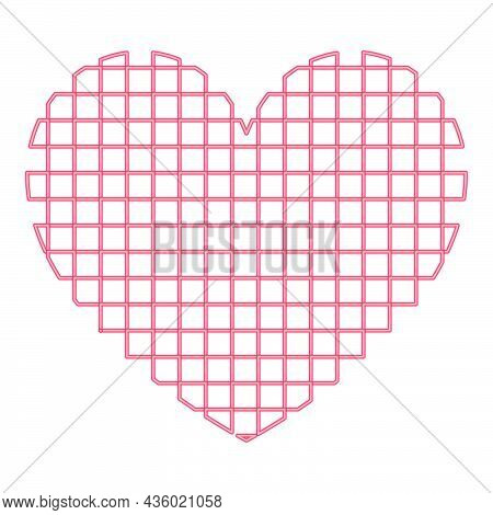 Neon Heart With Square Red Color Vector Illustration Flat Style Light Image