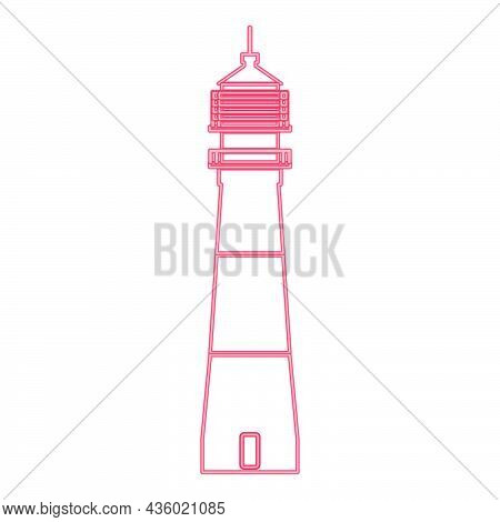 Neon Lighthouse Red Color Vector Illustration Flat Style Light Image