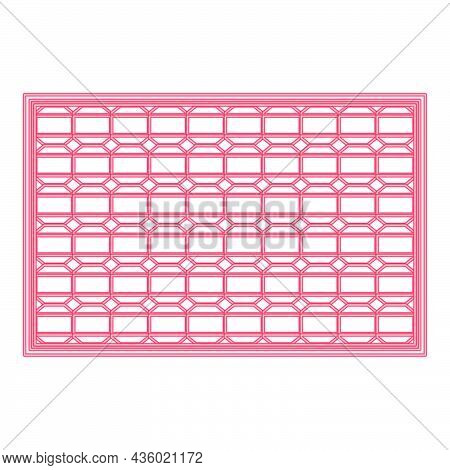Neon Solar Panel Red Color Vector Illustration Flat Style Light Image