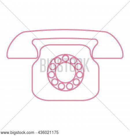 Neon Retro Telephone Red Color Vector Illustration Flat Style Light Image