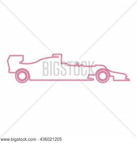 Neon Silhouette Of A Racing Car Red Color Vector Illustration Flat Style Light Image