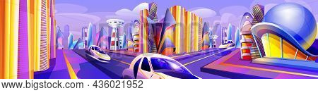 Future City With Modern Flying Cars Of Unusual Shapes. Automobile Drive Road And Futuristic Glass Bu