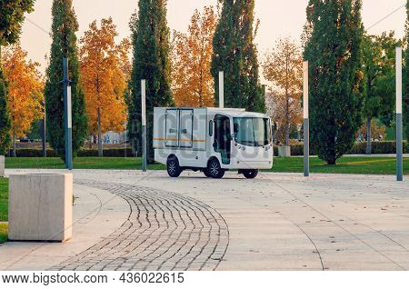 Krasnodar, Russia - October 12 2021: Electric Van In The Park. Ecological Urban Transportation