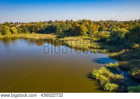 Beautiful lake in Gdansk during autumn, Poland