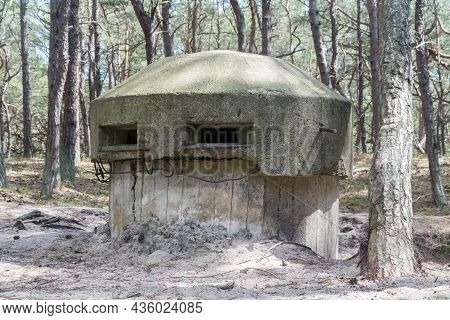 Old Polish Bunker On The Coast In Hel, Poland.