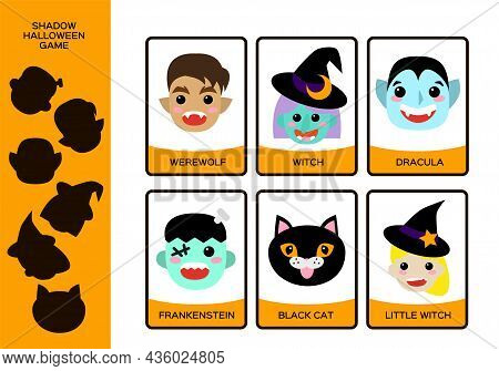Halloween Worksheet. Set Of Monsters. Witch, Little Witch, Werewolf, Black Cat, Dracula And Frankens