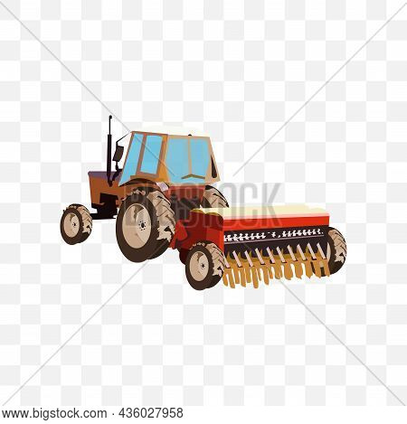 Tractor Clipart Vector Illustration On White Background