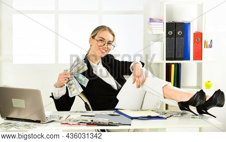 Woman Counting Money. Business Investment. Successful Startup Of Young Woman. Business Challenges. O