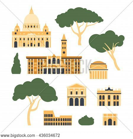 Italy, Rome. Architectural Collection Of Buildings And Trees. Vector Illustration.