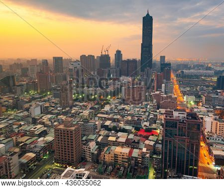 Kaohsiung, Taiwan Skyline at twilight from above.