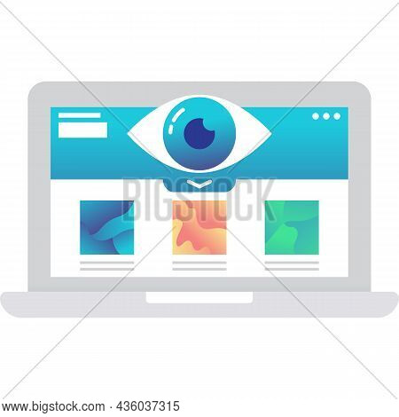 Visualization Icon Vector Visual Data On Laptop