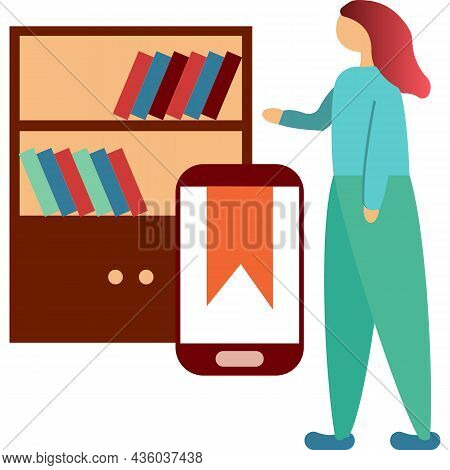 Online Library Icon Digital Education Flat Vector