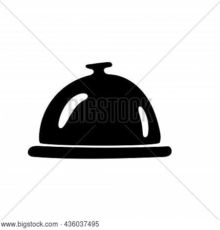 Black Anblack And White Illustration Of A Serving Dome Cover And Plate, Kitchen Ware, Utensils. Dood