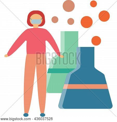 Woman In Face Mask Protect From Air Smog Vector