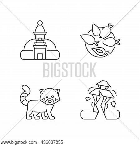 Tourism In Nepal Linear Icons Set. Swayambhu Stupa. Nepalese Cuisine. Red Panda. Yomari Dish. Custom