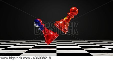 China Flag And Taiwan Flag Print Screen On Pawn Chess For Fighting On Chess Board , China And Taiwan