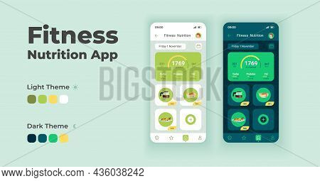 Fitness Nutrition App Cartoon Smartphone Interface Vector Templates Set. Mobile App Screen Page Day