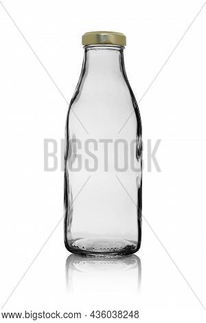 Empty, Transparent Glass Bottle, Closed With A Metal Lid. Isolated On A White Background With Reflec
